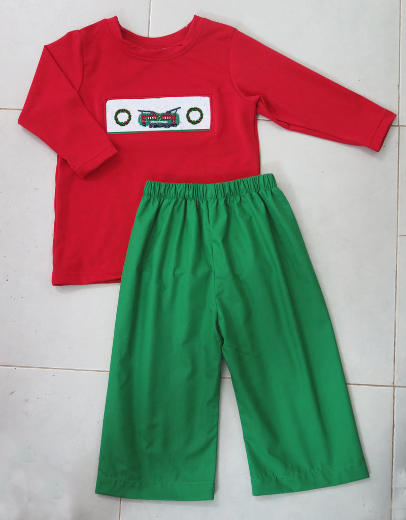 Solid Red Streetcar/Wreath Boys Pants Set