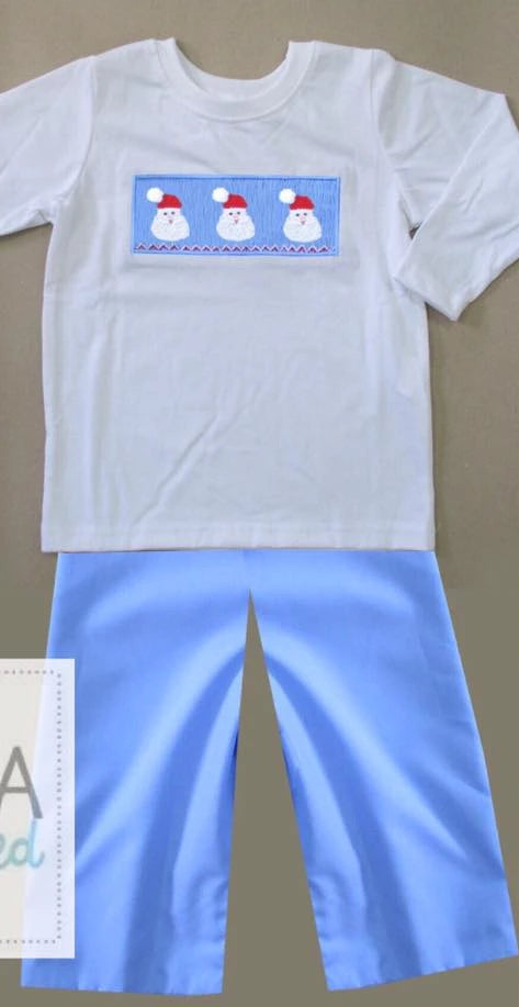 Blue Santa Face Boys Pants Set