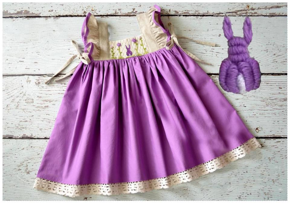 Lavender Bunny Pinafore Dress
