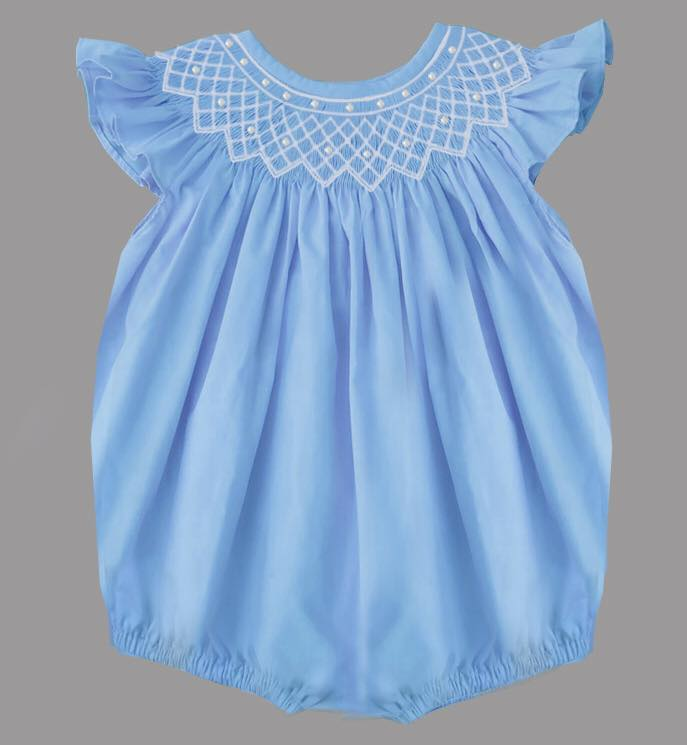 Blue Solid Spring Angel Sleeve Bubble