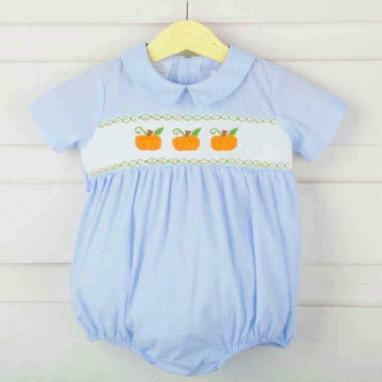 Light Blue Gingham Pumpkin Boy Bubble