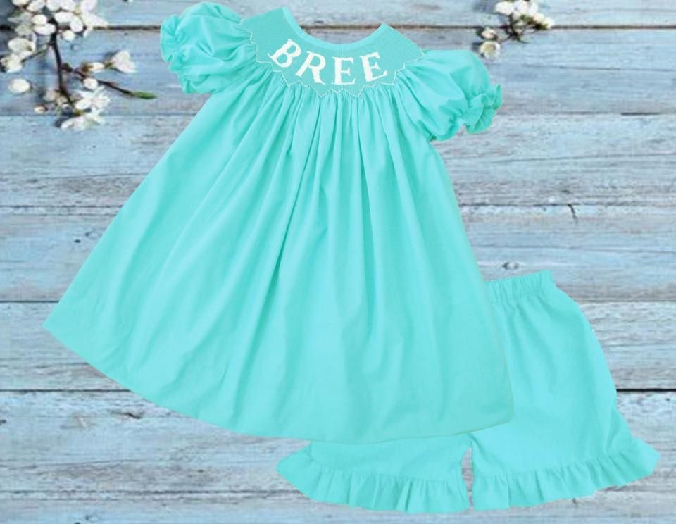 Personalized Mint Girls Short/Bloomer Set