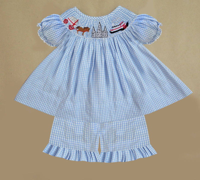 Gingham New Orleans Steamboat Girls Short Set