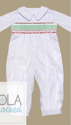 White Geometrical Christmas Boy Romper