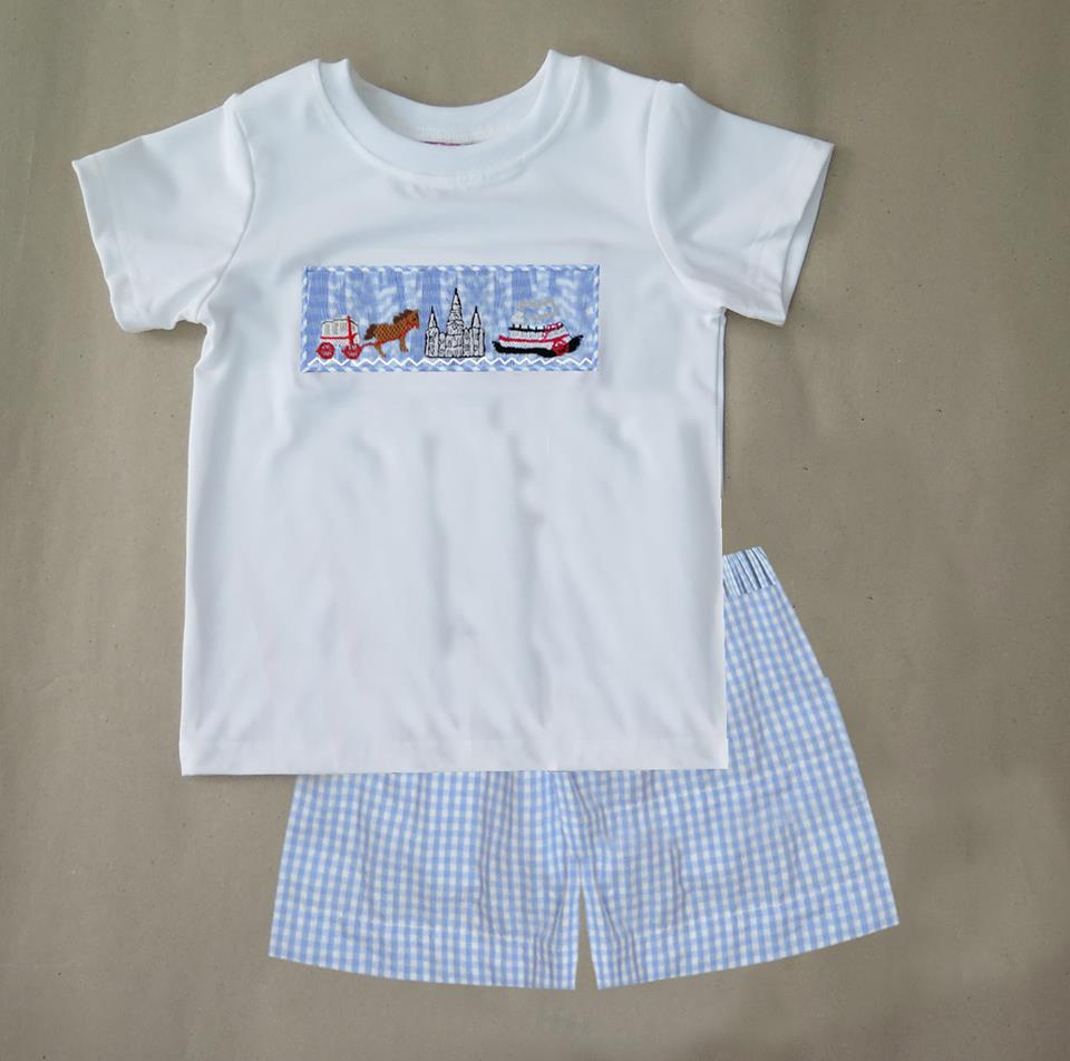 Gingham New Orleans Steamboat Boys Short Set