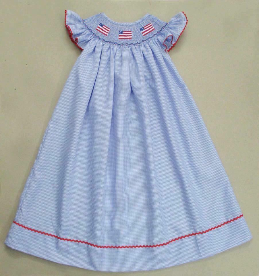 Light Blue Gingham Flag Bishop Dress