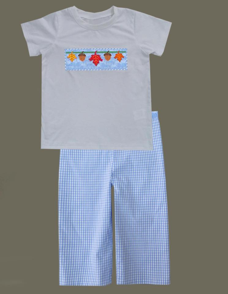 Blue Fall Leaves Boys Pants Set