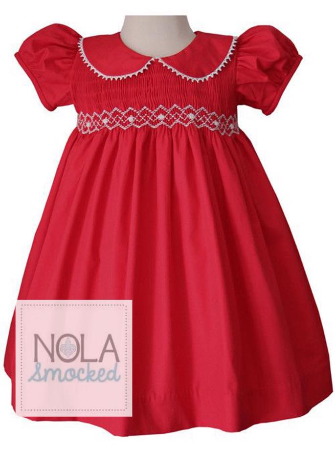 Red Collar with white Smocking Dress