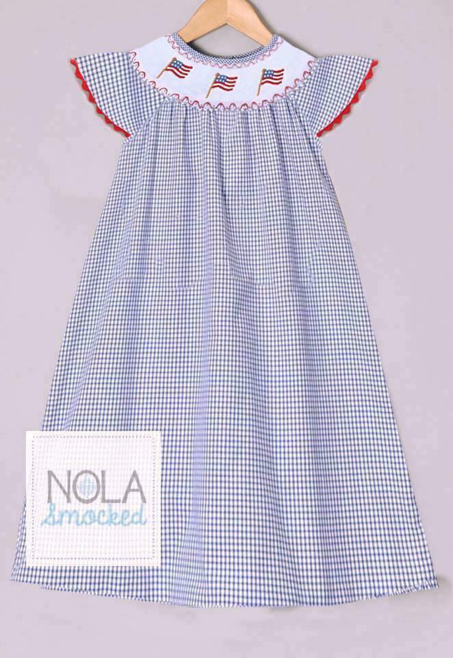 Navy Gingham Flag Pole Bishop Dress