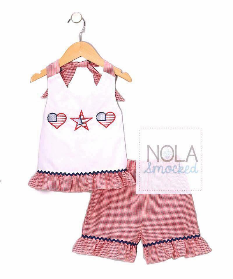 Star and Heart Flags Girls Short Set