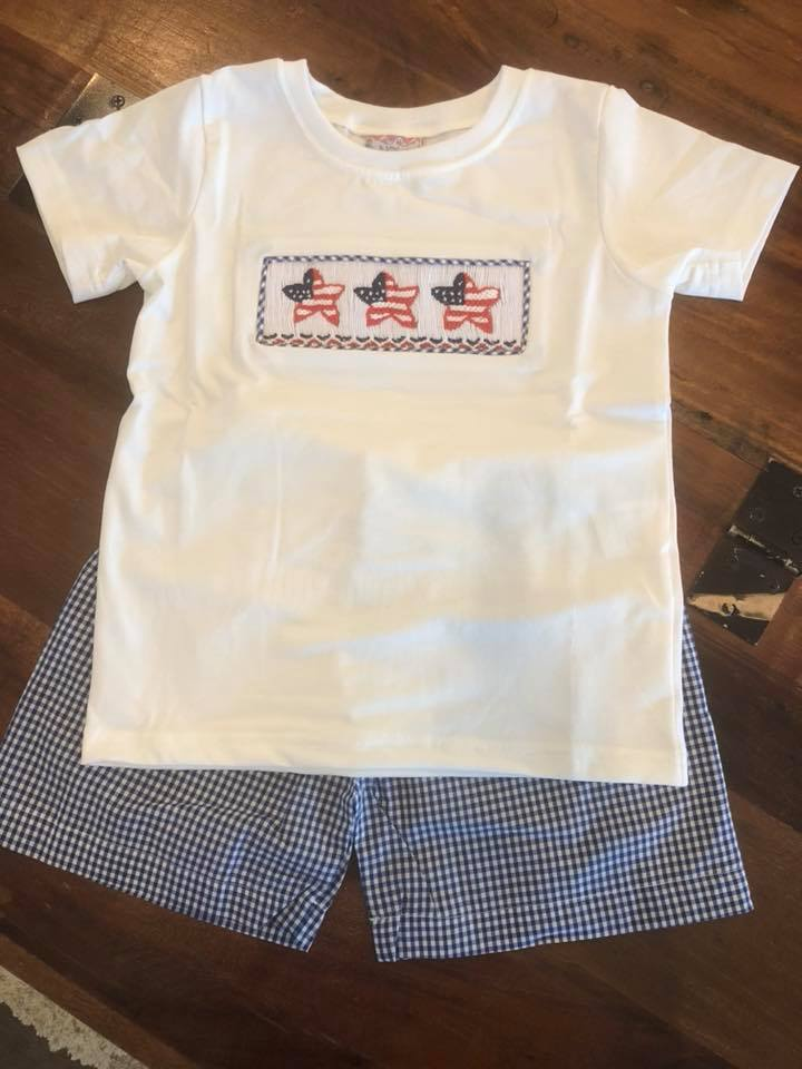 Navy Gingham Star Flags Boys Short Set