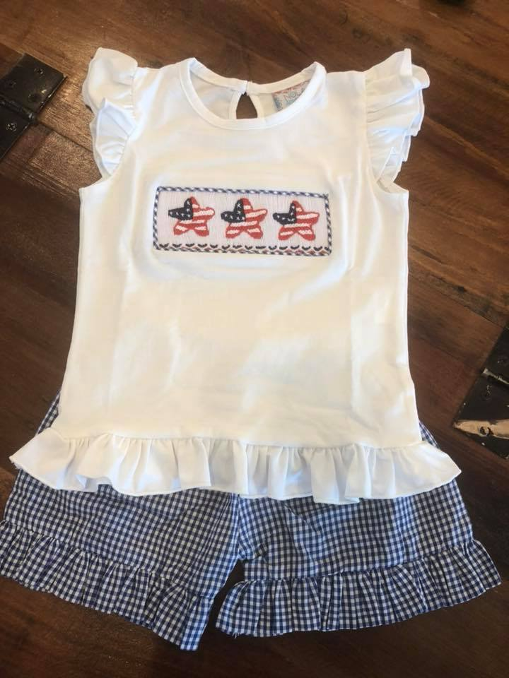 Navy Gingham Star Flags Girls Short Set