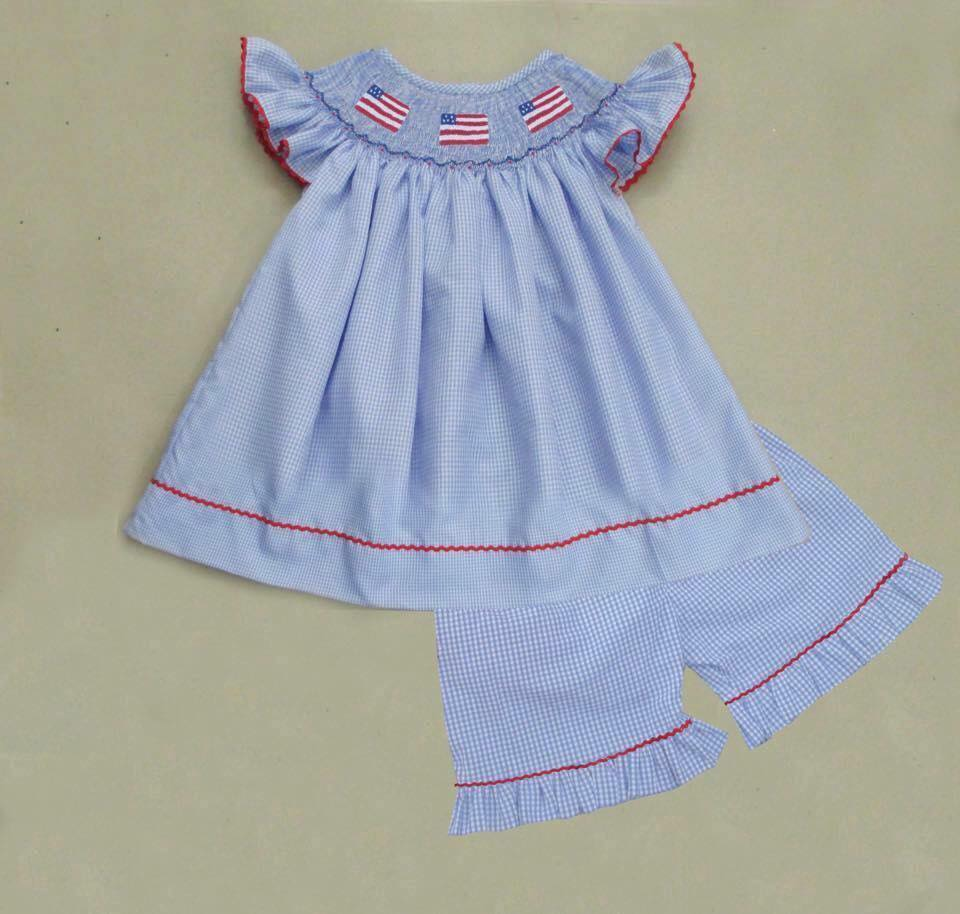 Light Blue Gingham Flag Girls Short Set