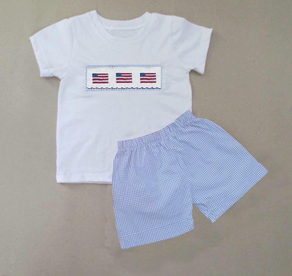Light Blue Gingham Flag Boys Short Set