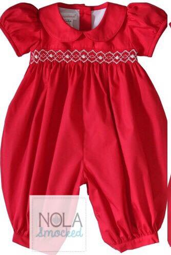 Red Collar with white Smocking Romper