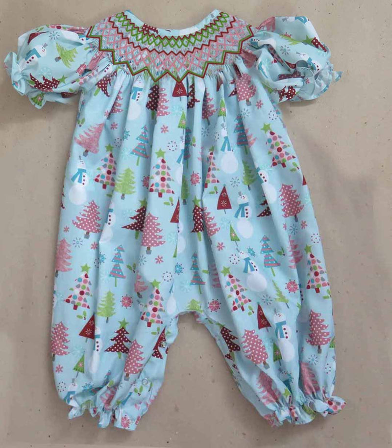 Blue Snowman/Tree Fabric Romper