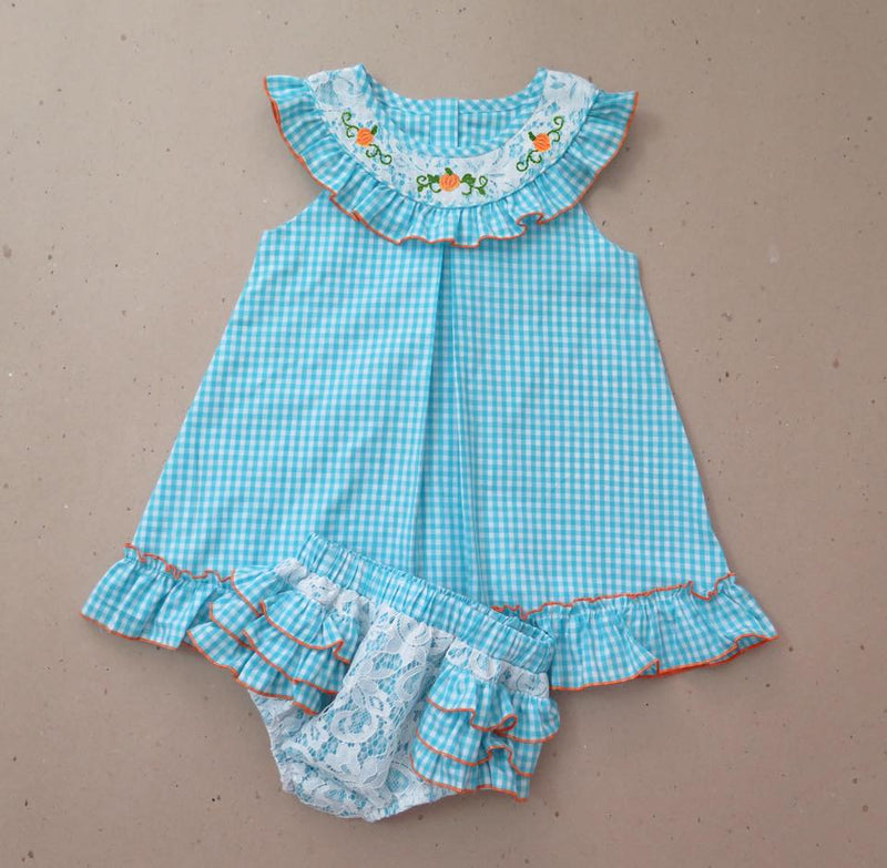 Aqua Embrodiered Pumpkin with Lace Bloomer Set