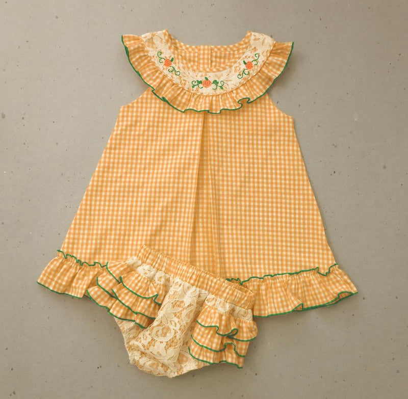Orange Embrodiered Pumpkin with Lace Bloomer Set