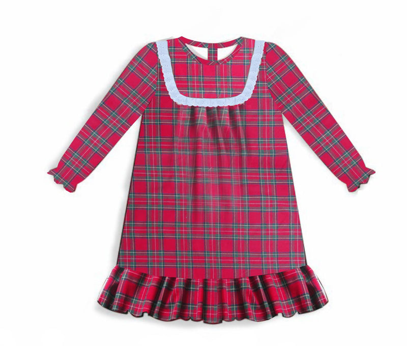 Girls Plaid Christmas Nightgown