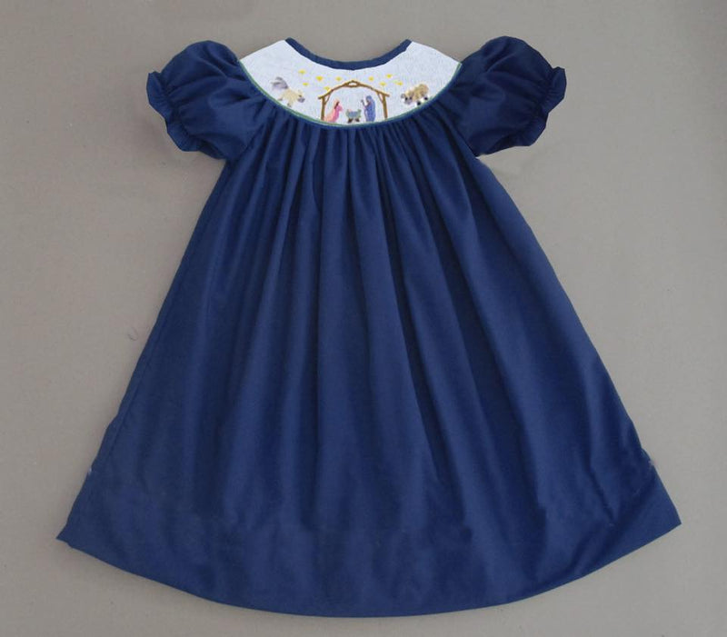 Navy Nativity Bishop Dress with White Smock Plate