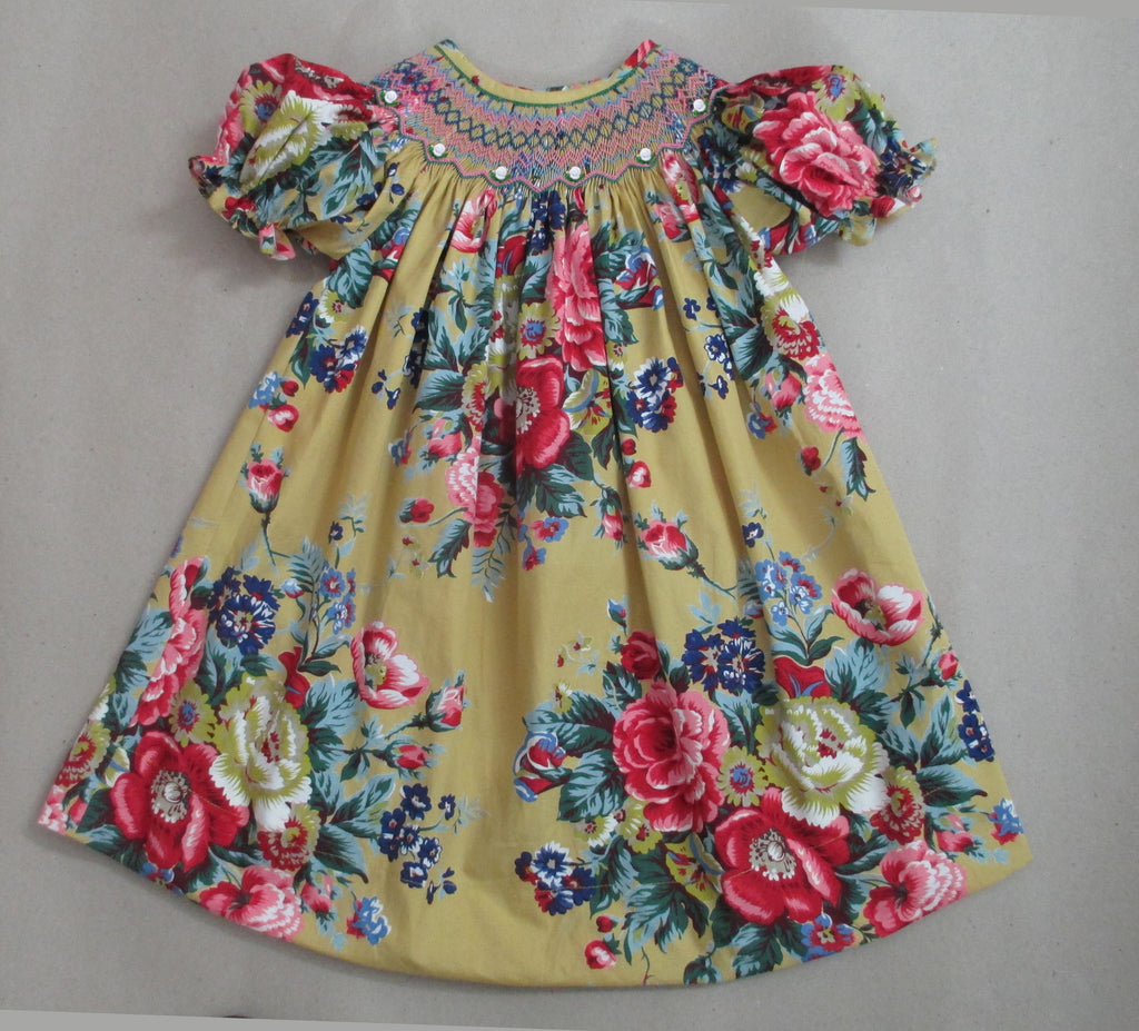 Honey Floral Smocked Bishop Dress