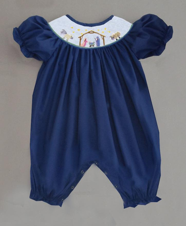 Navy Nativity Girls Romper with White Smock Plate