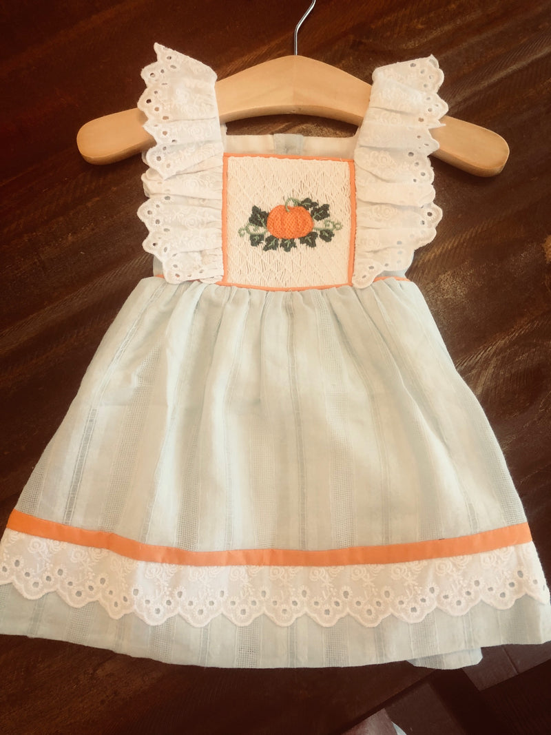 2019 Pale Blue Pumpkin and Lace Pinafore Dress