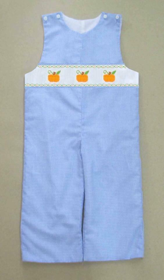 Light Blue Gingham Pumpkin Longall