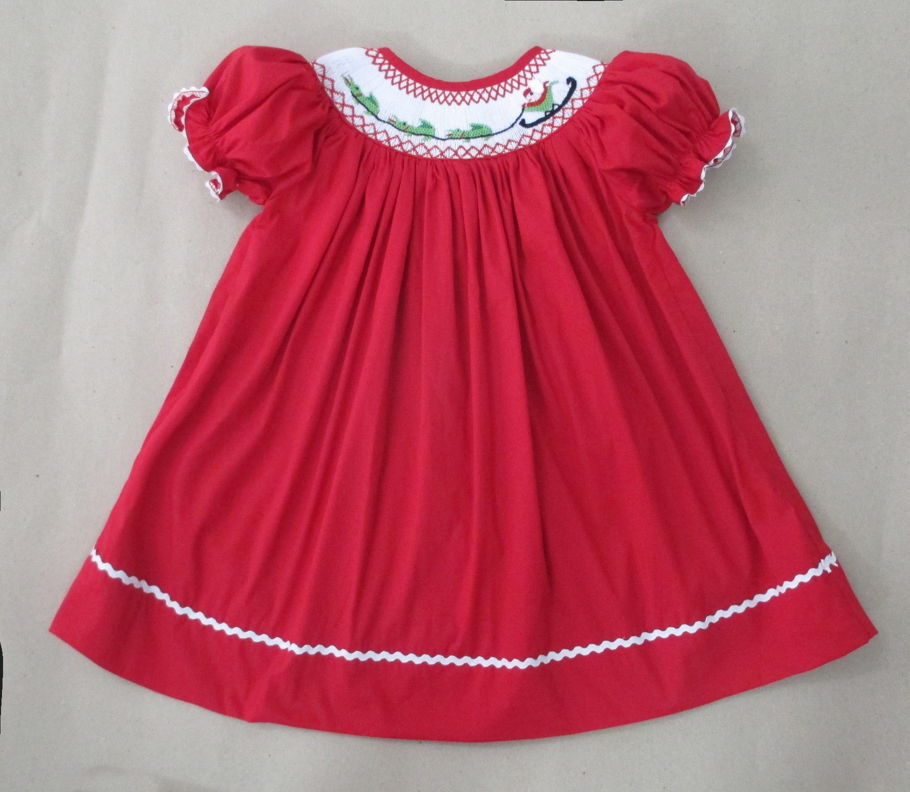 Red Cajun Santa Bishop Dress Nola Smocked Llc