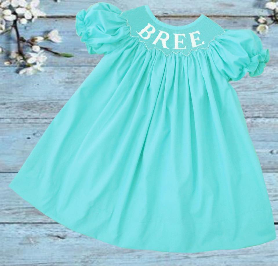 Personalized Mint Bishop Dress