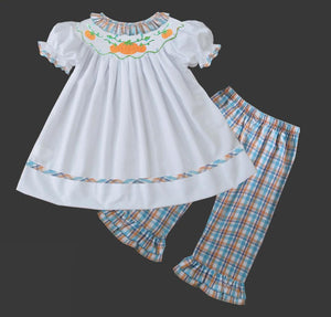 White with plaid collar Girls Pants Set