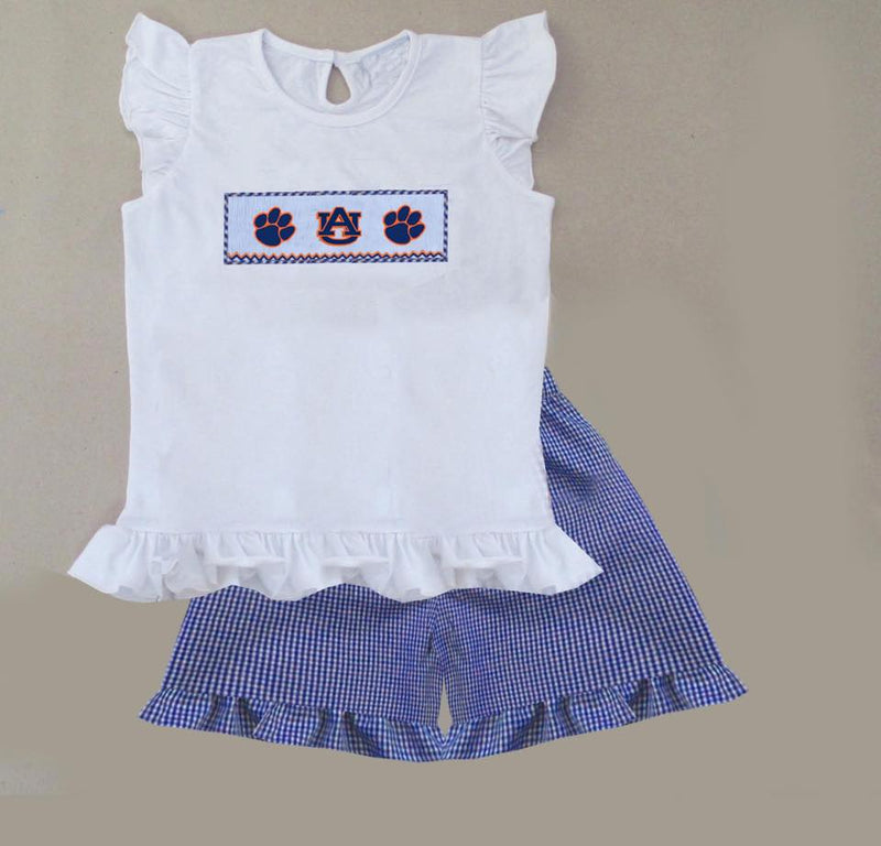 Blue Gingham AU Girls Short Set
