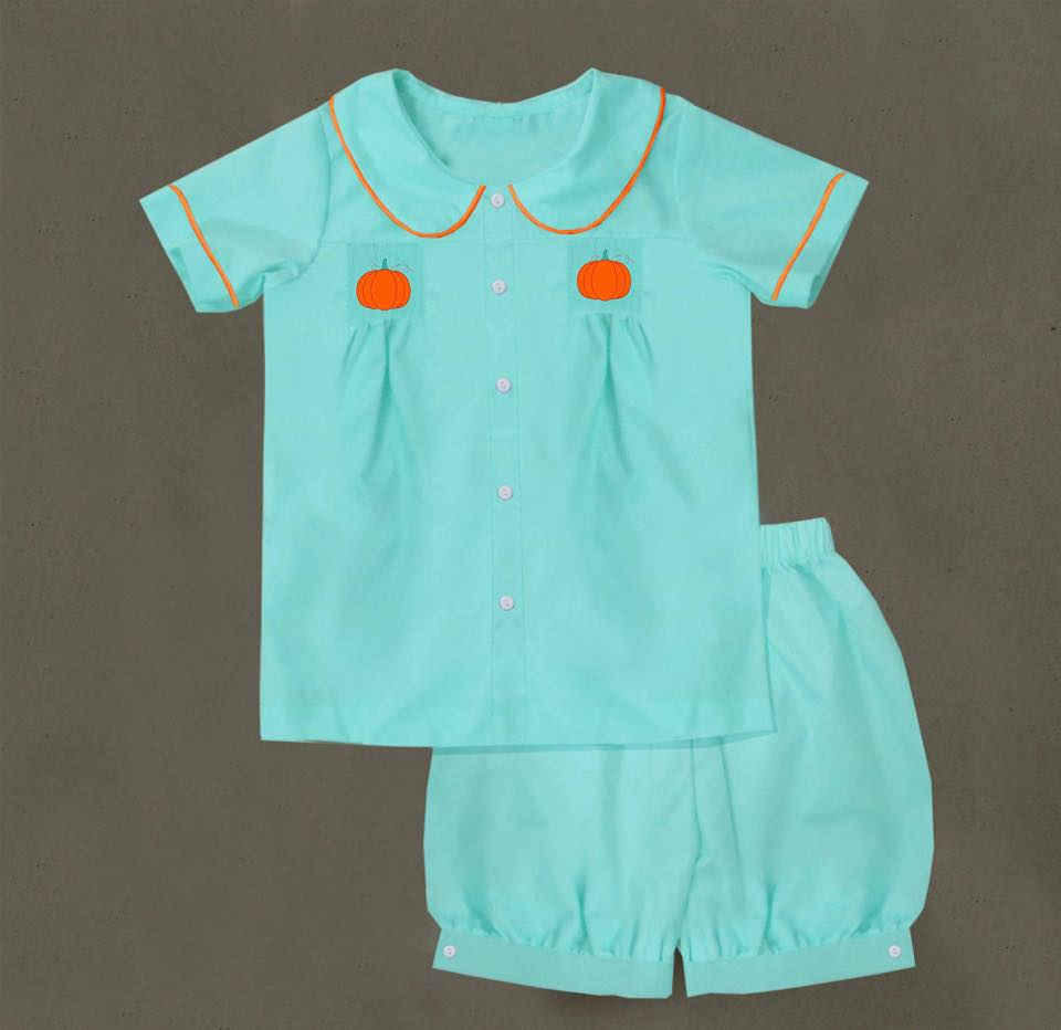 Mint Pumpkin Boys Short Set