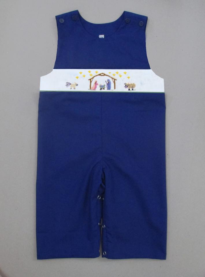 Navy Nativity Longall with White Smock Plate