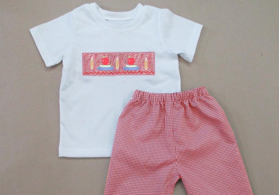 Red Gingham Apples and Pencils Boys Pants