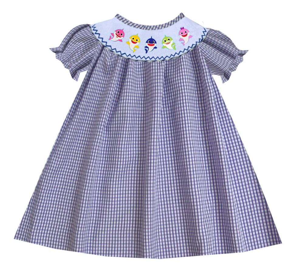 Baby Shark Bishop Dress -Navy Check