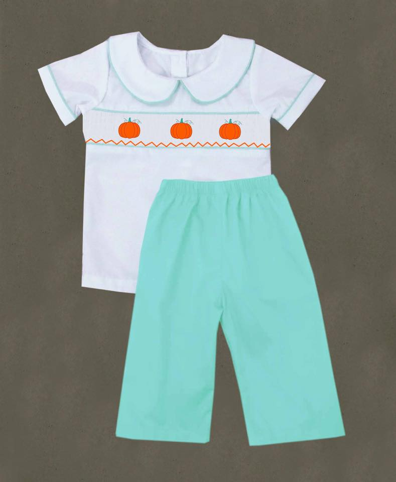 Mint Pumpkin Boys Pants Set