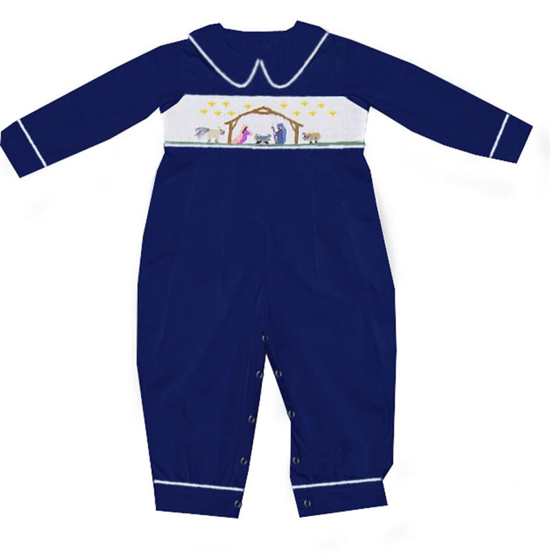 Navy Nativity Boy Romper with White Smock Plate