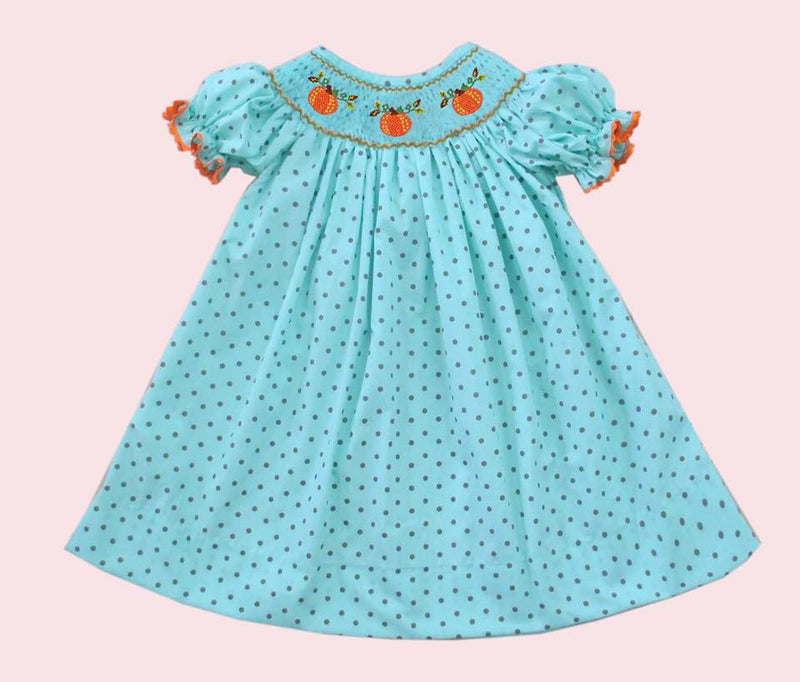 Aqua Brown Dot Pumpkin Bishop Dress