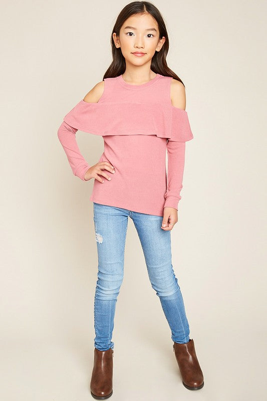 e2096149a2cef Girls Cold Shoulder Knit Sweater Top in Bubble Gum – Nola Smocked