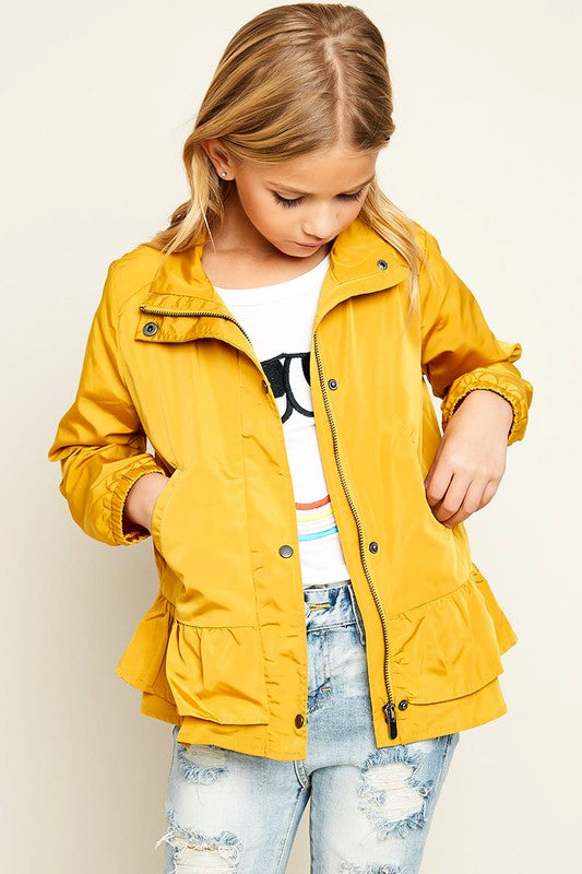 Girls Button Up Windbreaker in Honey