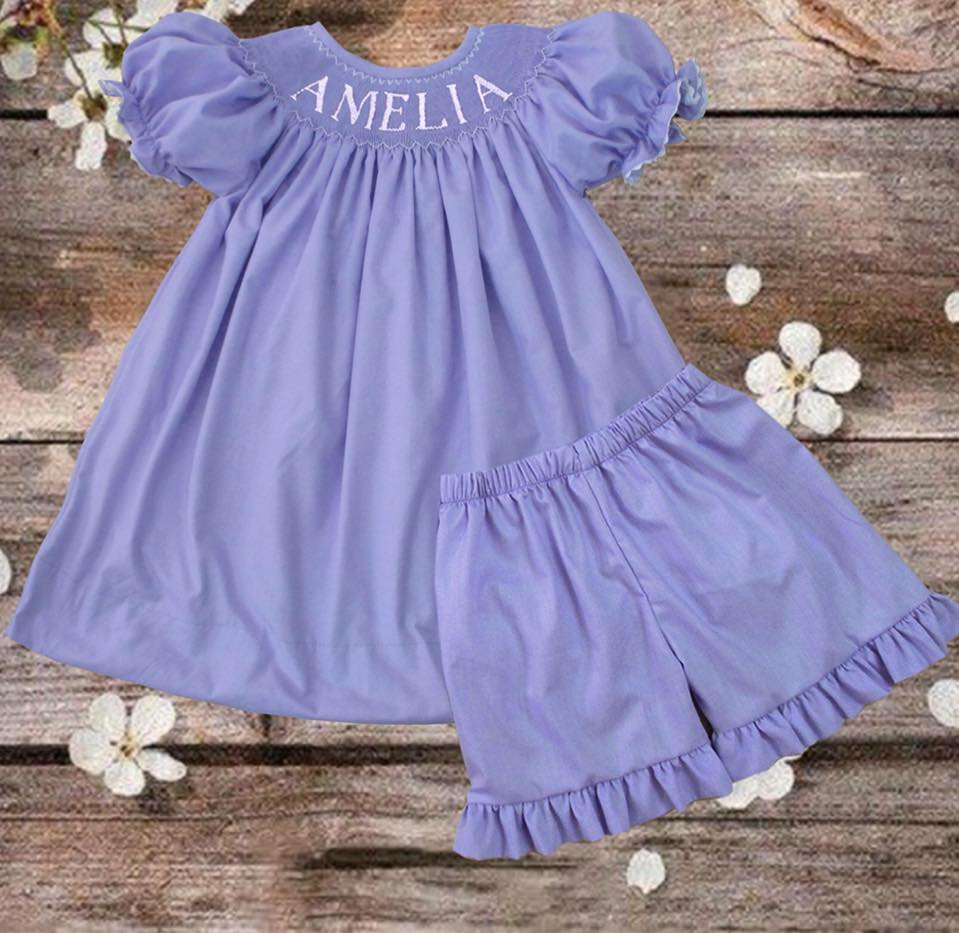 Personalized Lavender Girls Short/Bloomer Set
