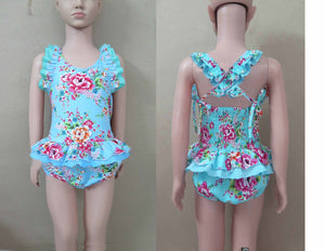 Blue and Pink Floral 1 Piece Swim Suit