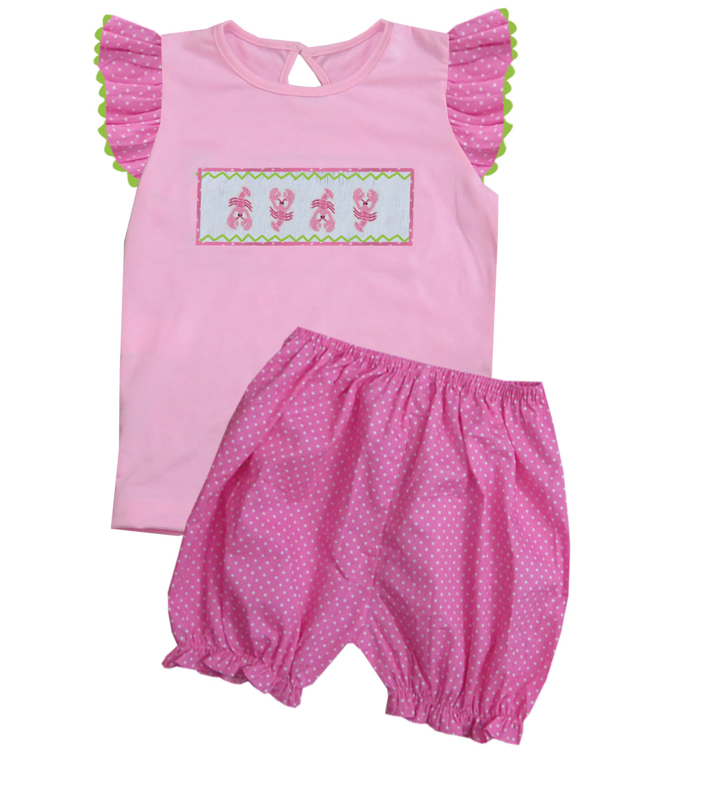 2020 Lobster Ruffle Sleeve Girl Bloomer/Short Set
