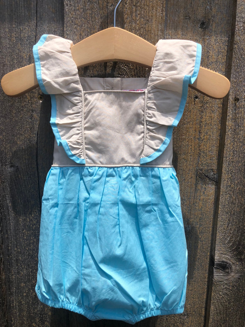 Aqua Pinafore with Lace Bubble