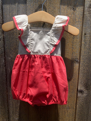Coral Pinafore with Lace Bubble