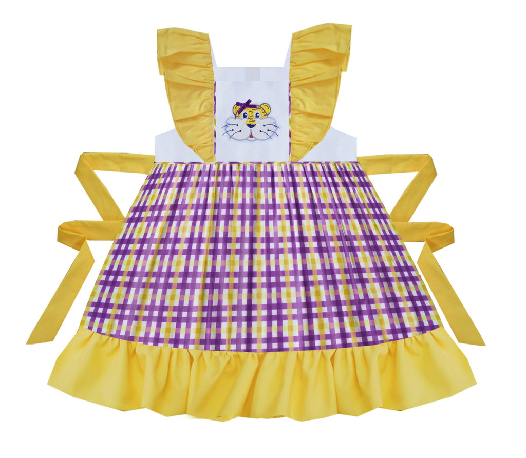 2020 LSU Tiger Gingham Pinafore Dress