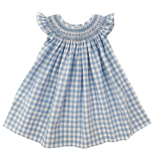 2020 Blue and White Gingham Bishop Dress