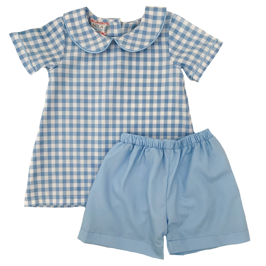 2020 Blue and White Gingham Boy Bloomer/Short Set