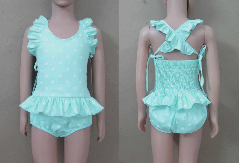 Mint Polka Dot 1 Piece Swim Suit